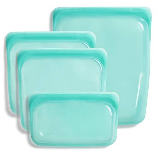 Stasher Platinum Silicone Food Grade Reusable Storage Bag,Aqua (Bundle...