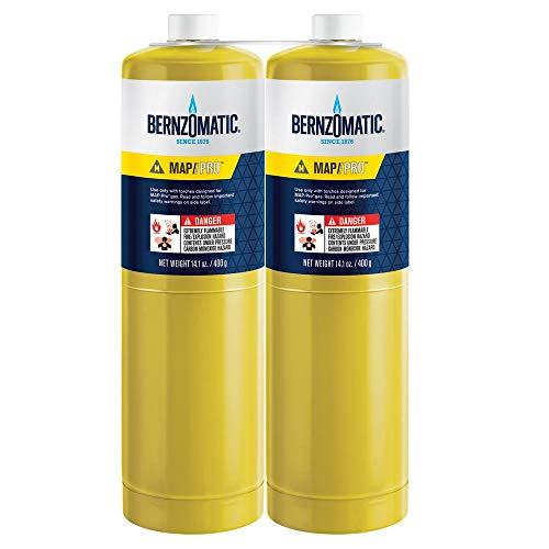 (2) 14.1 oz Bernzomatic Pre-Filled MAP-Pro Gas Torch Style Cylinder - Pack...