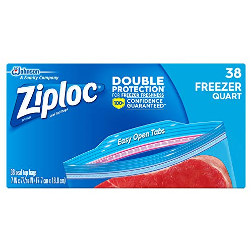 Ziploc Freezer Bags with New Grip 'n Seal Technology, Quart, 38 Count, Pack...