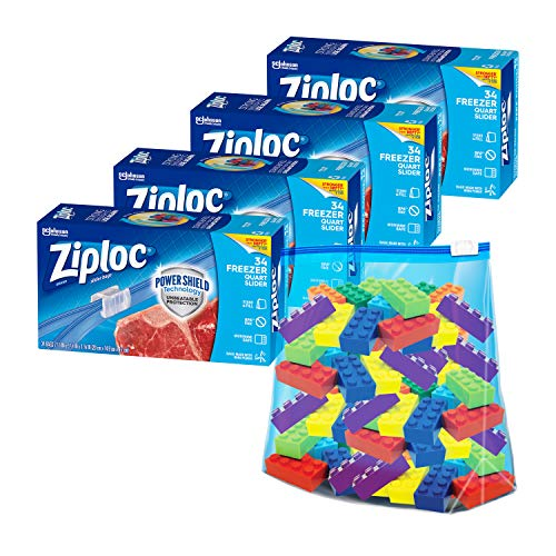 Ziploc Quart Food Storage Freezer Slider Bags, Power Shield Technology for...