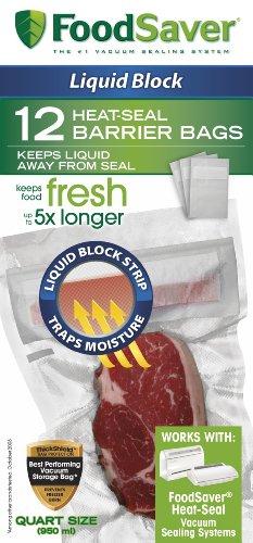 FoodSaver 1-Quart Liquid Block Heat-Seal Bags, Clear