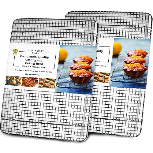 Cooling, Baking & Roasting Wire Racks for Sheet Pans - 100% Stainless Steel...