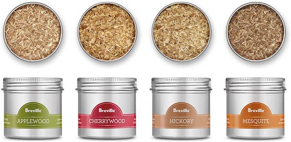 Breville Smoking Wood Chips Applewood Cherrywood Hickory and Mesquite Flavors